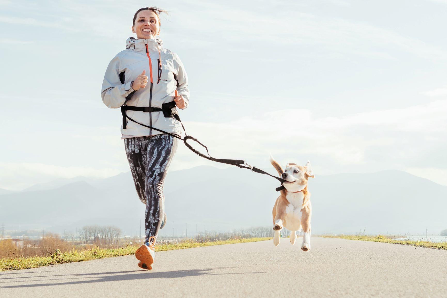 Frau Joggen mit Hund Leine